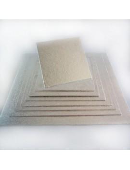 Support carré fin argenté 25 cm